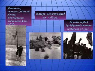 Начальник станции Северный Полюс» И.Д.Папанин  поднимает флаг СССР. Экипаж п