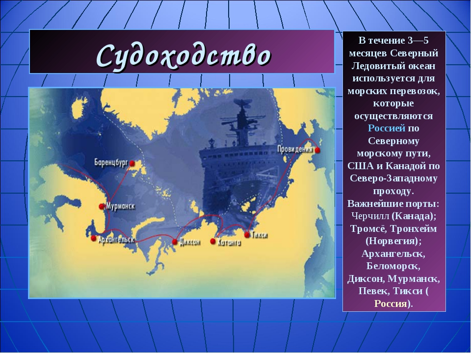 Судоходство В течение 3—5 месяцев Северный Ледовитый океан используется для м...
