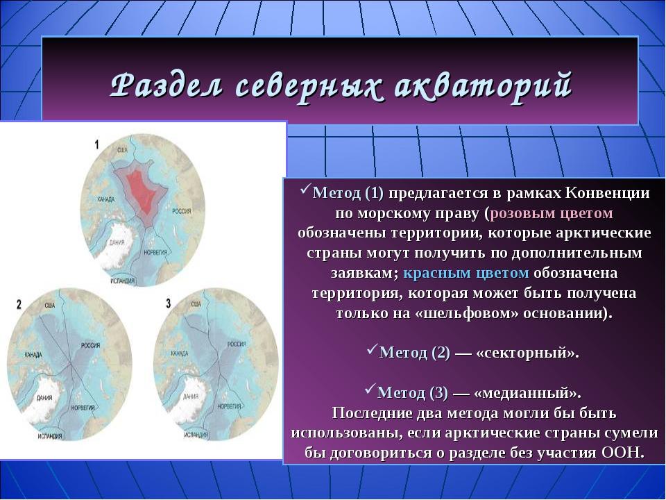 Раздел северных акваторий Метод (1) предлагается в рамках Конвенции по морско...