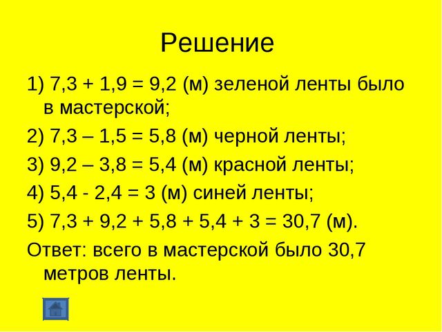 Решение 1) 7,3 + 1,9 = 9,2 (м) зеленой ленты было в мастерской; 2) 7,3 – 1,5...