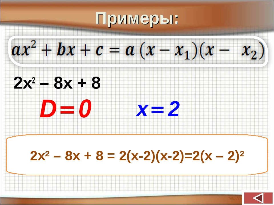 Примеры: 2х2 – 8х + 8 2х2 – 8х + 8 = 2(х-2)(х-2)=2(х – 2)2