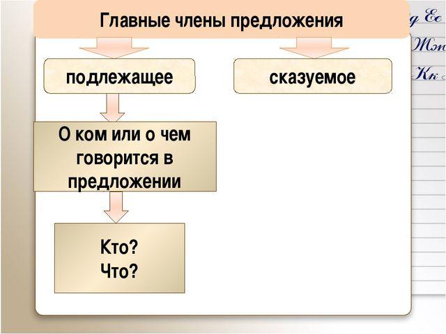 Главные члены предложения подлежащее сказуемое О ком или о чем говорится в пр...