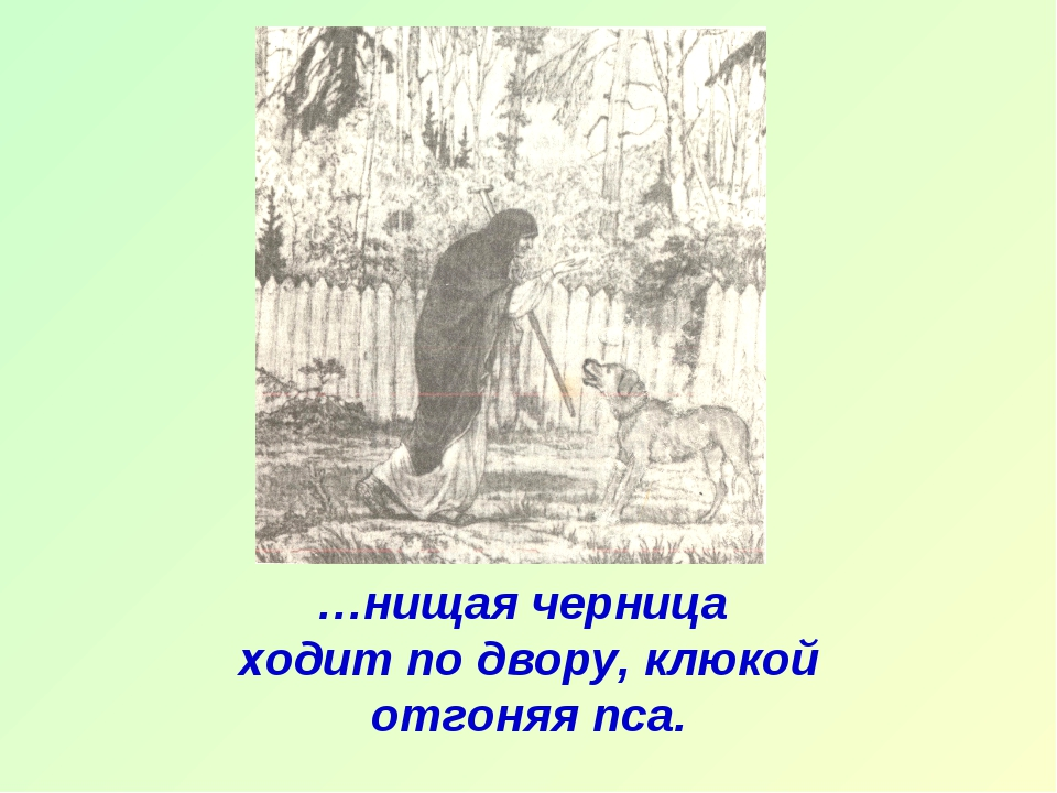 …нищая черница ходит по двору, клюкой отгоняя пса.