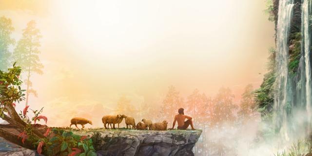 Авель пасет стадо овец и смотрит на творения Иеговы