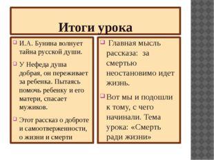 Итоги урока И.А. Бунина волнует тайна русской души. У Нефеда душа добрая, он