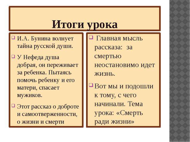 Итоги урока И.А. Бунина волнует тайна русской души. У Нефеда душа добрая, он...