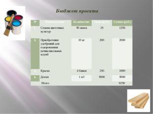 Бюджет проекта № Наименование Количество Цена (руб.) Сумма (руб.) 1. Семена ц