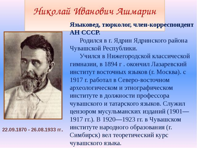 Николай Иванович Ашмарин Языковед, тюрколог, член-корреспондент АН СССР. Ро...