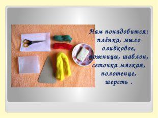 Нам понадобится: плёнка, мыло оливковое, ножницы, шаблон, сеточка мягкая, пол