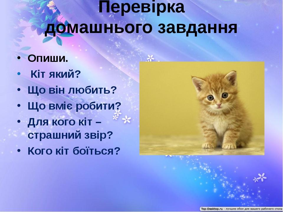 Перевірка домашнього завдання Опиши. Кіт який? Що він любить? Що вміє робити?...