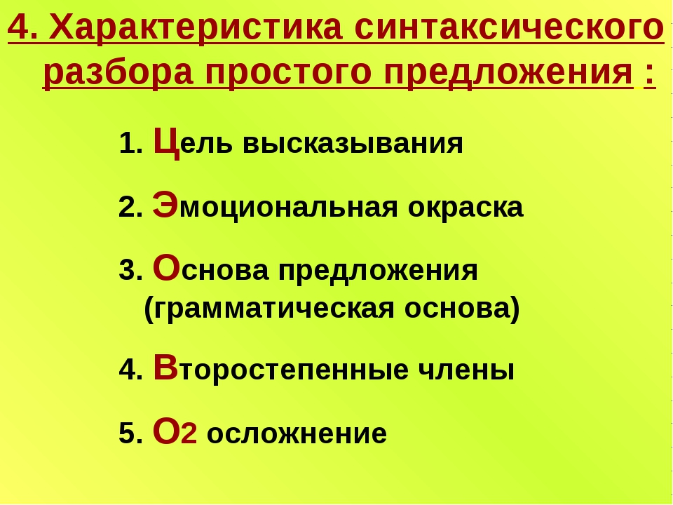 4. Характеристика синтаксического разбора простого предложения : 1. Цель выск...