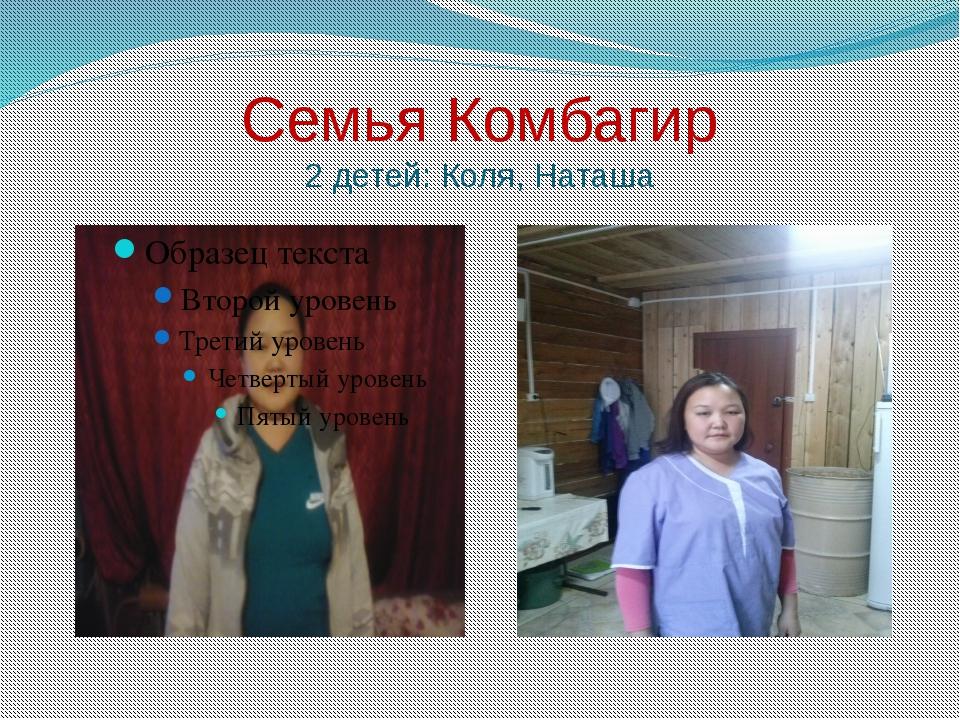Семья Комбагир 2 детей: Коля, Наташа