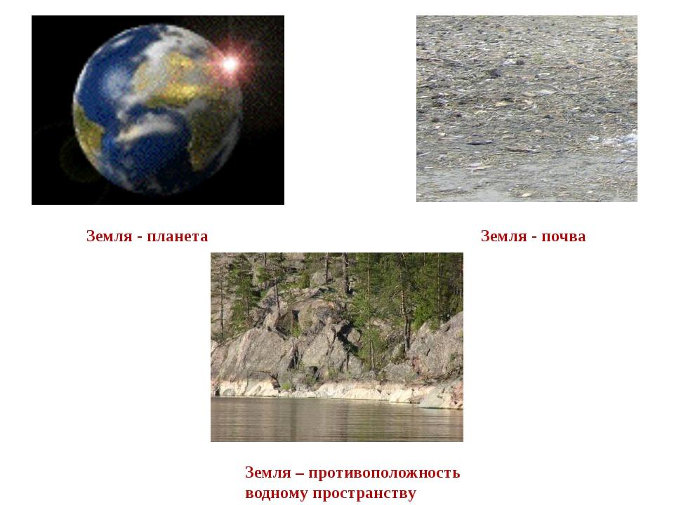 Земля - планета Земля – противоположность водному пространству Земля - почва