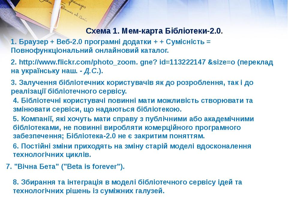Схема 1. Мем-карта Бібліотеки-2.0. 1. Браузер + Веб-2.0 програмні додатки + +...