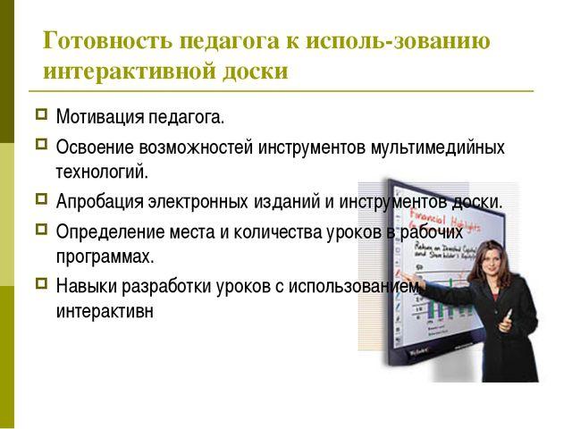 Готовность педагога к исполь-зованию интерактивной доски Мотивация педагога....