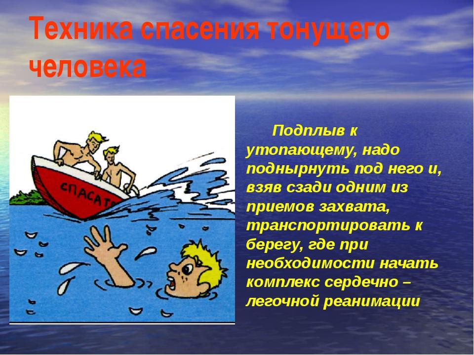 Техника спасения тонущего человека Подплыв к утопающему, надо поднырнуть под...