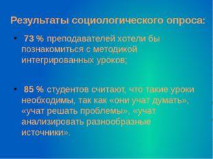 Результаты социологического опроса: 73 % преподавателей хотели бы познакомит