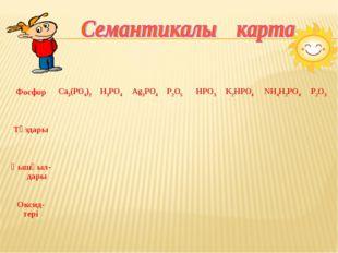 Фосфор Са3(РО4)2 Н3РО4 Ag3PO4 Р2О5 HPO3 K2HPO4 NН4Н2РО4 Р2О3 Тұздары