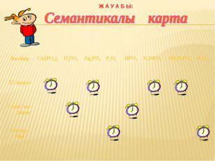 Ж А У А Б Ы: Фосфор Са3(РО4)2 Н3РО4 Ag3PO4 Р2О5 HPO3 K2HPO4 NН4Н2РО4