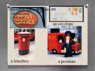a postman a letterbox an envelope