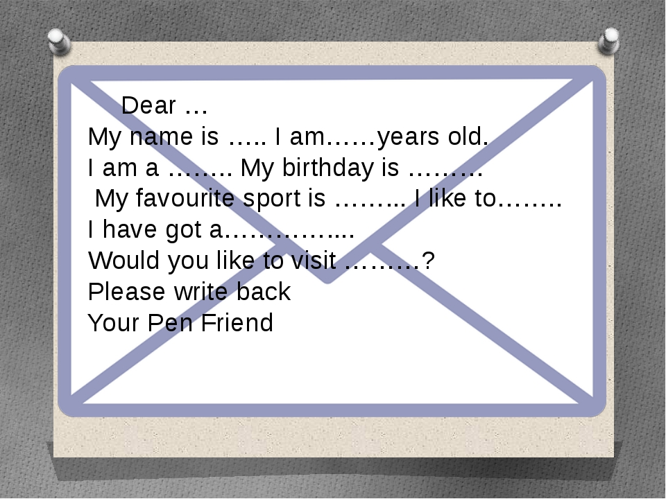 Dear … My name is …..I am……years old. I am a …….. My birthday is ……… My fa...