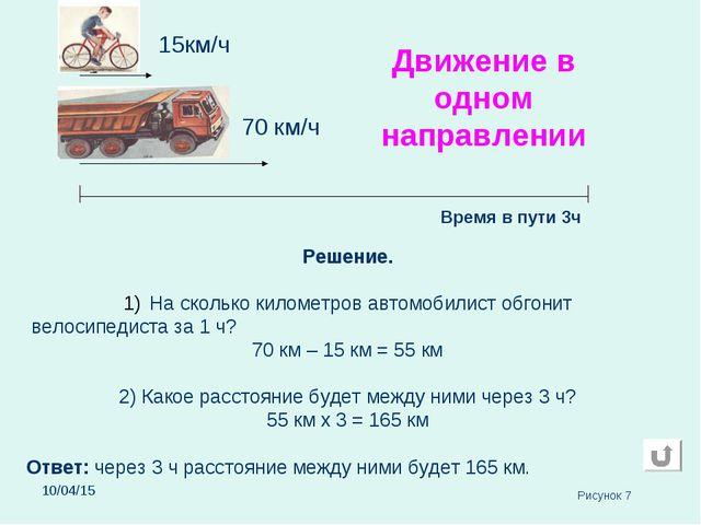 * 70 км/ч 15км/ч Время в пути 3ч Решение. На сколько километров автомобилист...