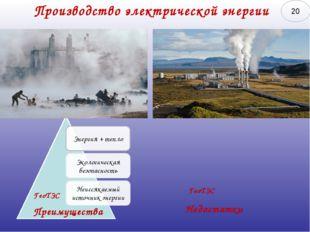 Производство электрической энергии ГеоТЭС Преимущества ГеоТЭС Недостатки 20