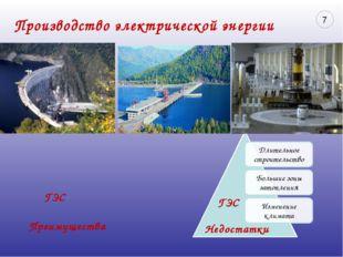Производство электрической энергии Преимущества Недостатки ГЭС ГЭС 7