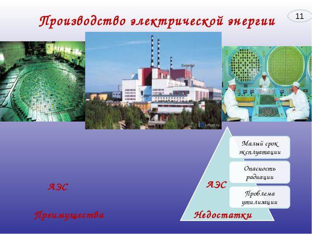 Преимущества Недостатки АЭС АЭС 11 Производство электрической энергии