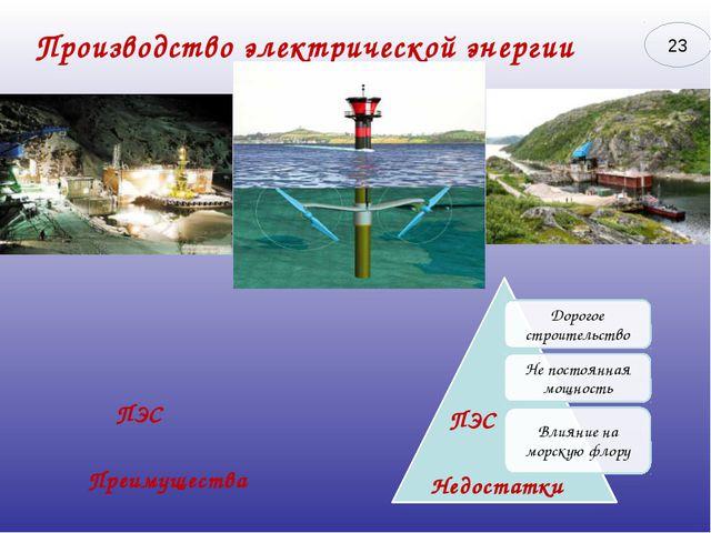 Производство электрической энергии Преимущества Недостатки ПЭС ПЭС 23