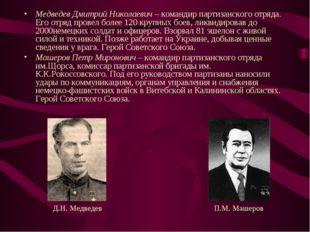 Медведев Дмитрий Николаевич – командир партизанского отряда. Его отряд провел