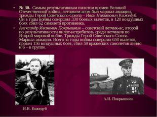 № 30. Самым результативным пилотом времен Великой Отечественной войны, летчик