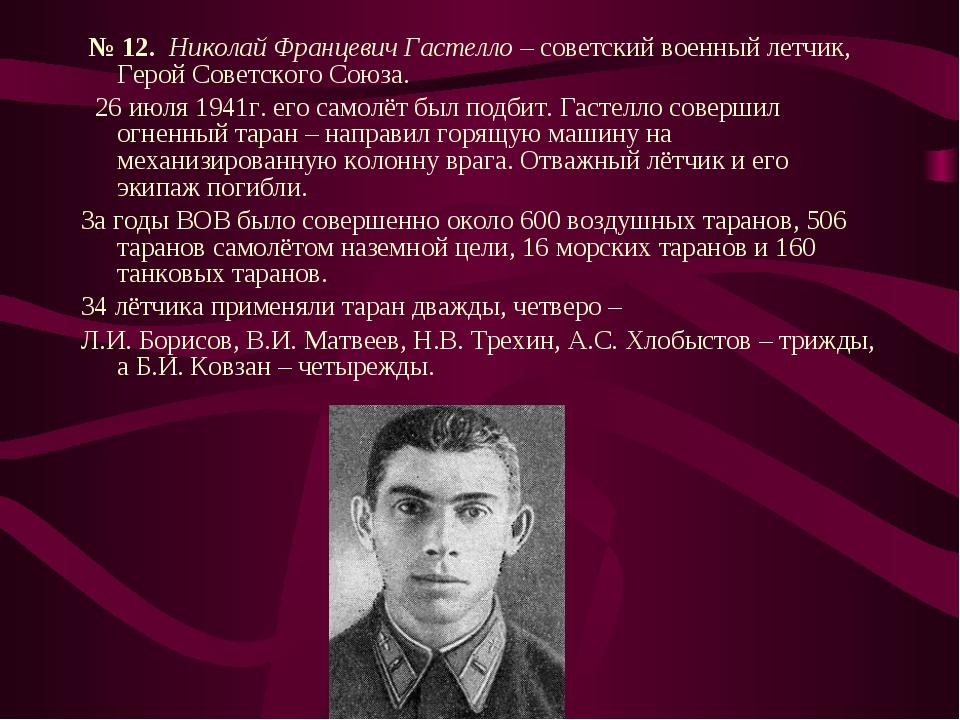 № 12. Николай Францевич Гастелло – советский военный летчик, Герой Советског...
