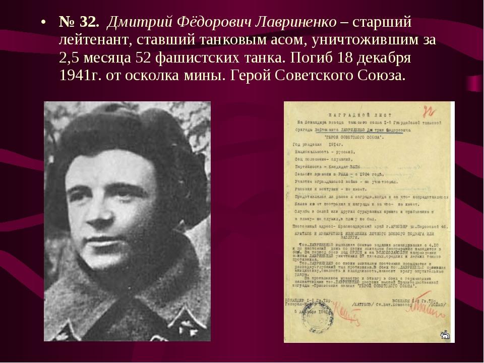 № 32. Дмитрий Фёдорович Лавриненко – старший лейтенант, ставший танковым асом...