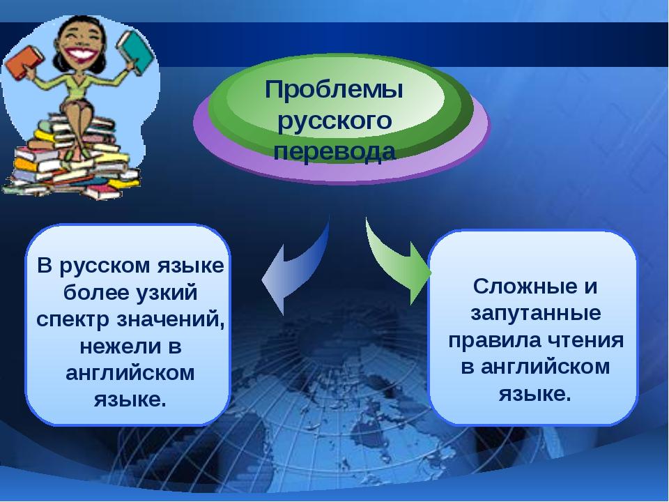 В русском языке более узкий спектр значений, нежели в английском языке. Проб...