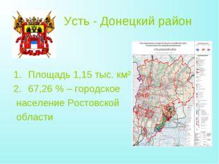 Усть - Донецкий район Площадь 1,15 тыс. км² 67,26% – городское население Рос