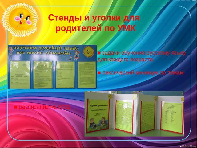 Стенды и уголки для родителей по УМК ■ задачи обучения русскому языку для каж...