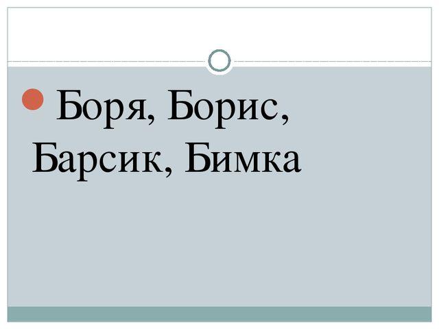 Боря, Борис, Барсик, Бимка