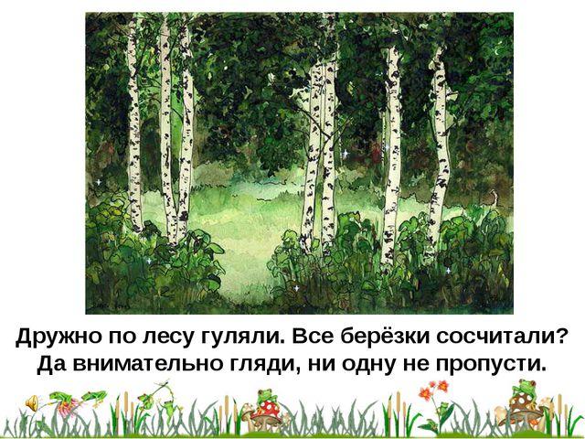 Дружно по лесу гуляли. Все берёзки сосчитали? Да внимательно гляди, ни одну н...