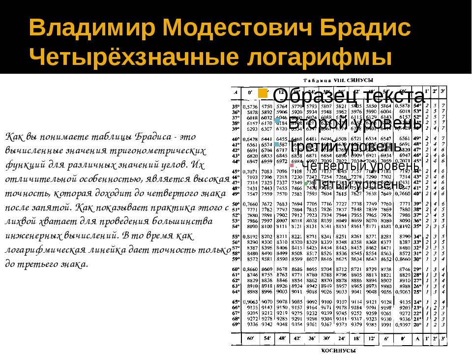 Владимир Модестович Брадис Четырёхзначные логарифмы Как вы понимаете таблицы...
