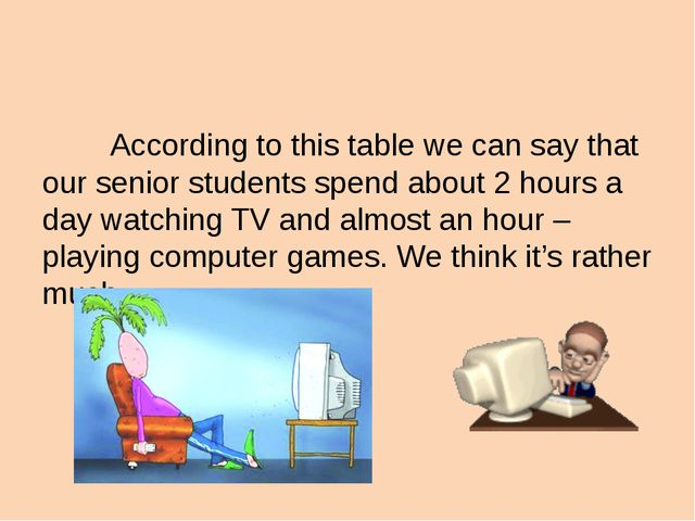 According to this table we can say that our senior students spend about 2 ho...