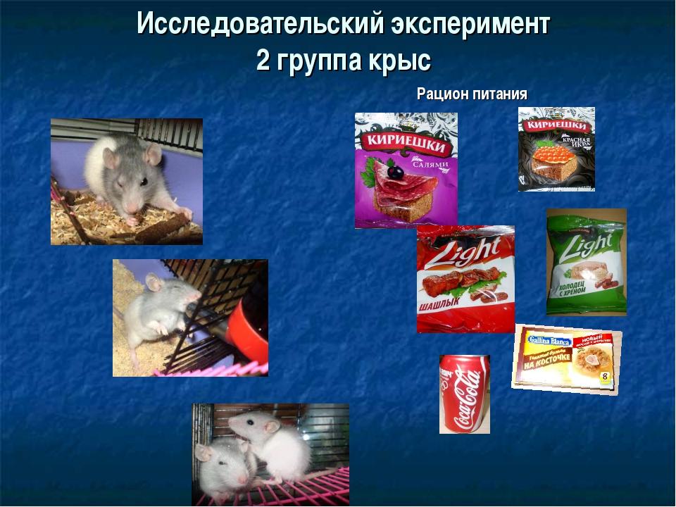 Исследовательский эксперимент 2 группа крыс Рацион питания
