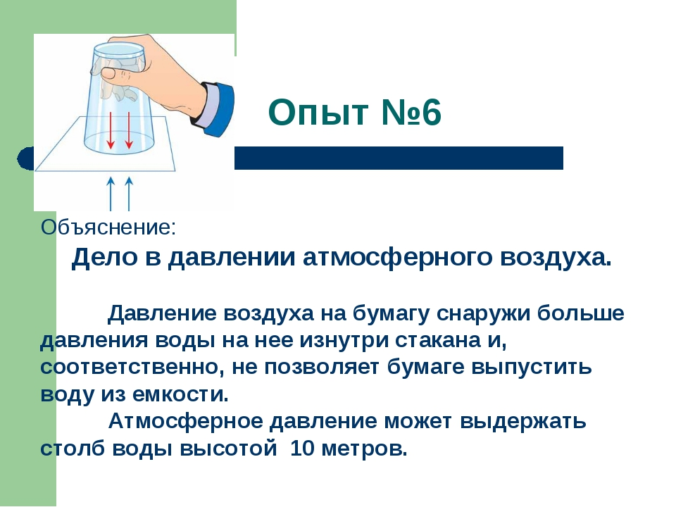 Опыт №6 Объяснение: Дело вдавлении атмосферного воздуха. Давление воздуха н...