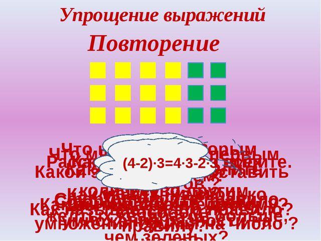 Как найти сумму всех квадратов ? Расскажите, что вы видите. Упрощение выражен...
