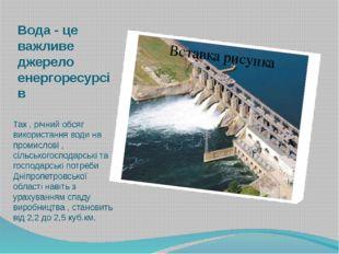 Вода - це важливе джерело енергоресурсів Так , річний обсяг використання води