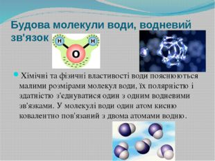 Будова молекули води, водневий зв'язок Хімічні та фізичні властивості води по