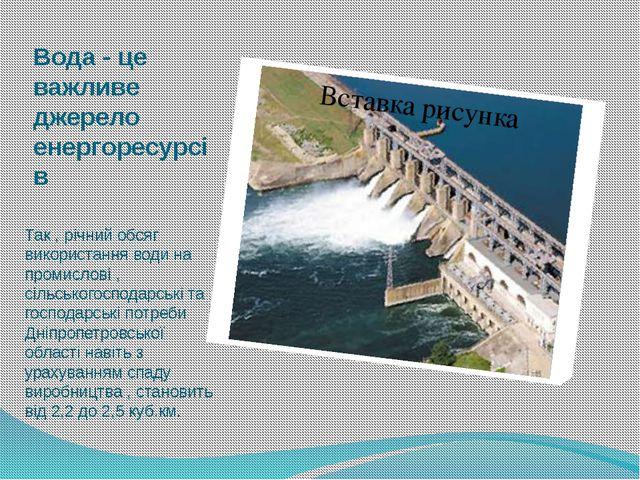 Вода - це важливе джерело енергоресурсів Так , річний обсяг використання води...