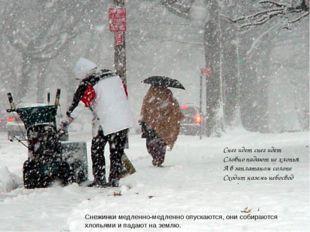 Снежинки медленно-медленно опускаются, они собираются хлопьями и падают на зе