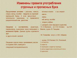 Изменены правила употребления строчных и прописных букв Продолжение заглавия