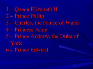 1 – Queen Elizabeth II 2 – Prince Philip 3 – Charles, the Prince of Wales 4 –